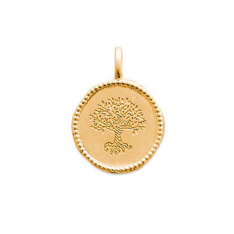 Pendentif médaillon personnalisé Arbre Monde Yggdrasil en plaqué or