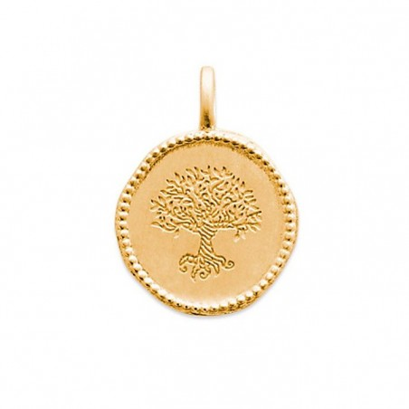 Pendentif médaille personnalisé Arbre Monde Yggdrasil en plaqué or