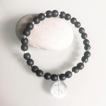 Bracelet homme personnalisé symbole viking argent pierre naturelle hématite