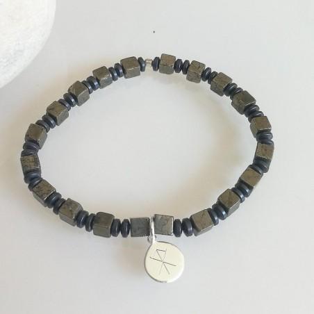 Bracelet homme pierres naturelles argent symbole viking personnalisé