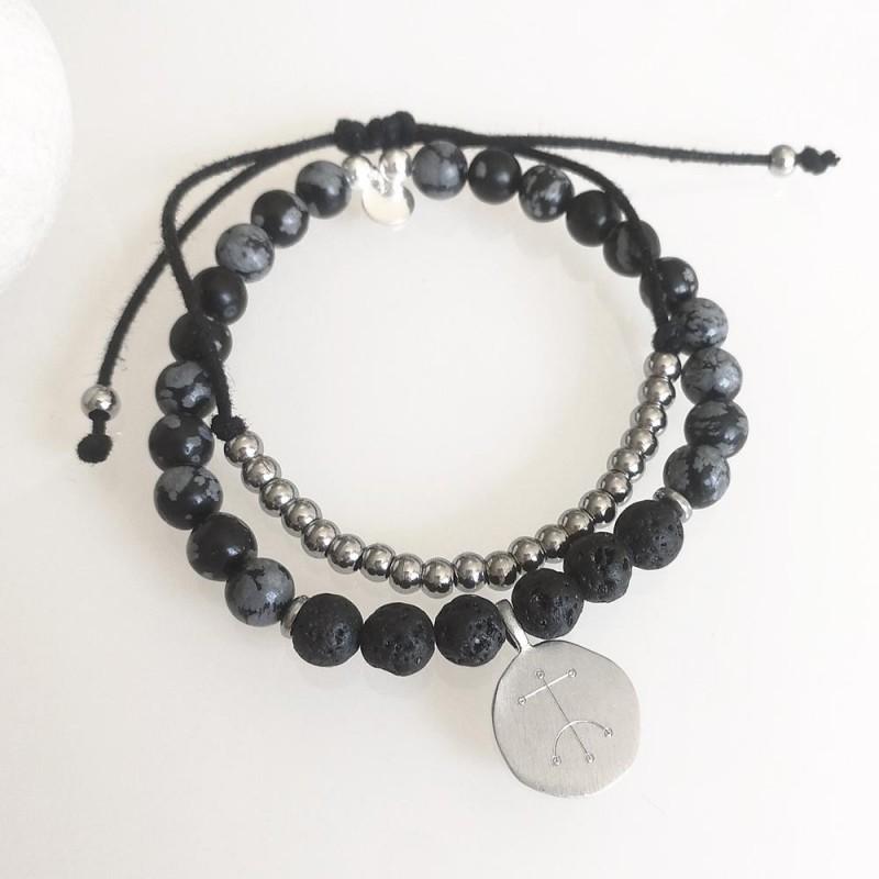 Bracelet homme pierre de lave symbole viking et bracelet cordon acier