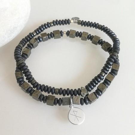 Bracelets homme pierres naturelles Duo médaille rune viking