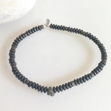 Bracelet pierres naturelles hématite et pyrite