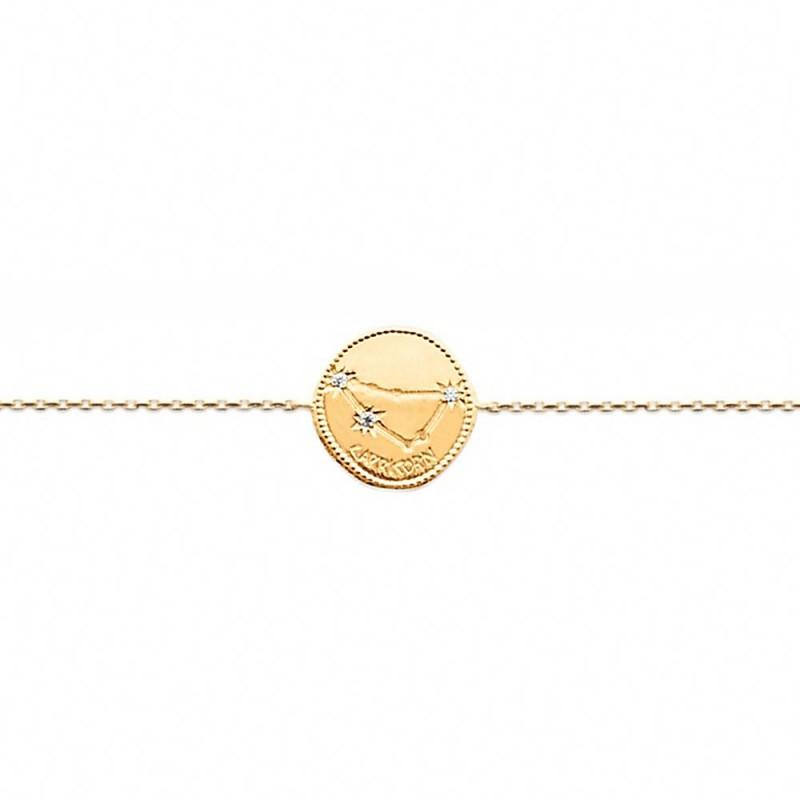Bracelet constellation capricorne plaque or zirconium