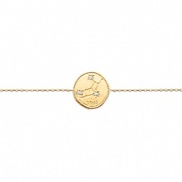 Bracelet constellation Vierge plaque or zirconium
