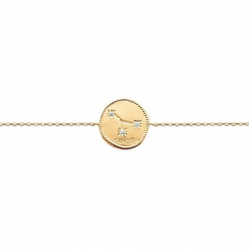 Bracelet constellation Cancer plaqué or zirconium