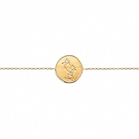 Bracelet constellation Gémeaux plaqué or zirconium