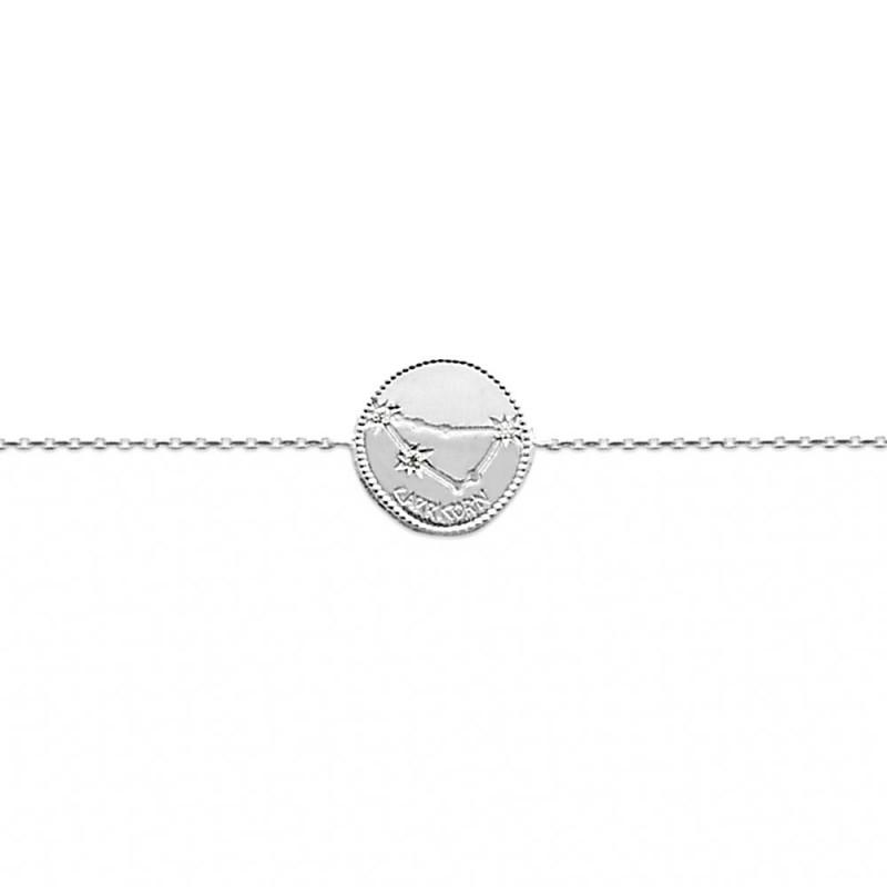 Bracelet constellation Capricorne argent zirconium