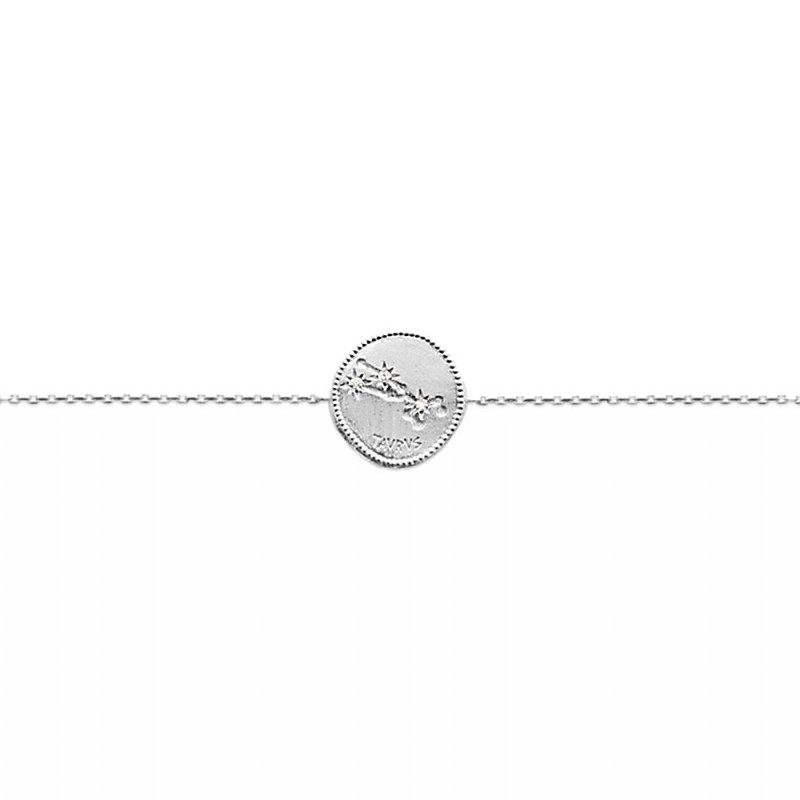 Bracelet constellation Taureau argent zirconium