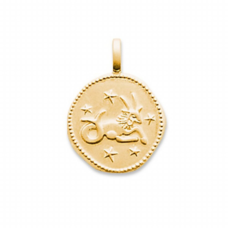 Pendentif signe astrologique Capricorne plaqué or