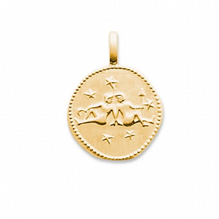 Pendentif signe astrologique Gémeaux plaqué or