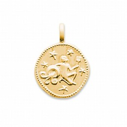 Pendentif signe astrologique Verseau plaqué or