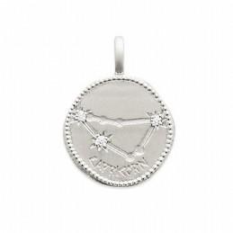 Pendentif médaille constellation Capricorne argent zirconium