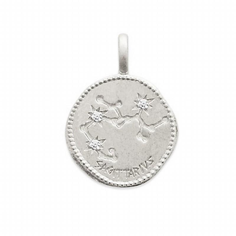 Pendentif médaille constellation Sagittaire argent zirconium