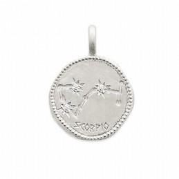 Pendentif médaille constellation Scorpion argent zirconium