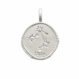 Pendentif médaille constellation Balance argent zirconium