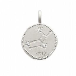 Pendentif médaille constellation Vierge argent zirconium