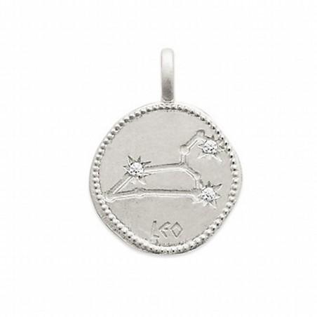 Pendentif médaille constellation Lion argent zirconium