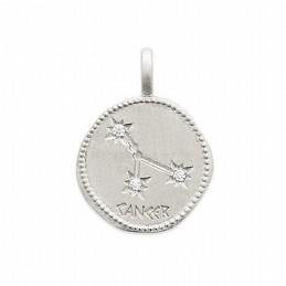 Pendentif médaille constellation Cancer argent zirconium