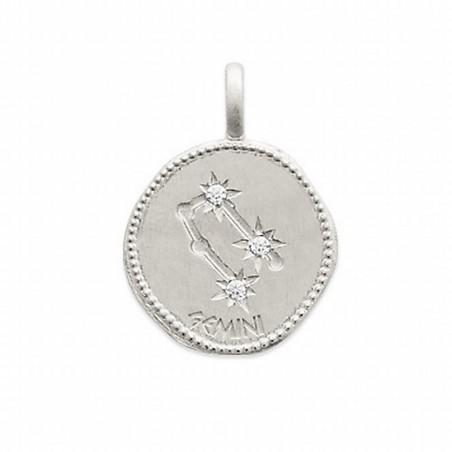 Pendentif médaille constellation Gémeaux argent zirconium