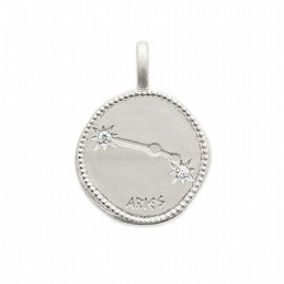 Pendentif médaille constellation Bélier argent zirconium