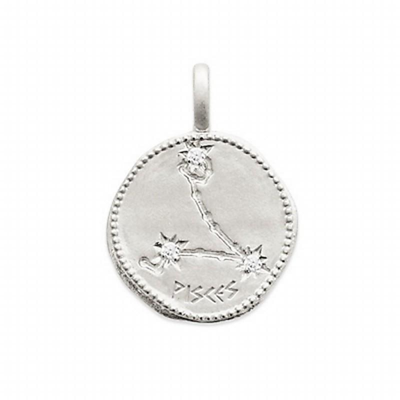 Pendentif médaille constellation Poissons argent zirconium
