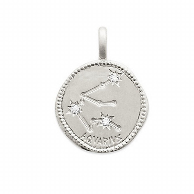 Pendentif médaille constellation Verseau argent zirconium