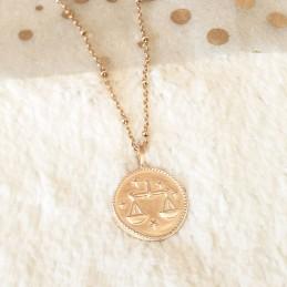 Médaille signe du zodiaque Balance plaqué or