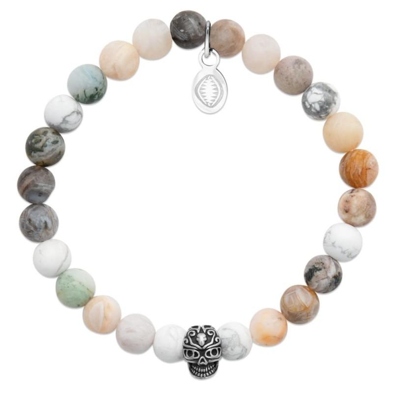 Bracelet homme pierres naturelles howlite et agate