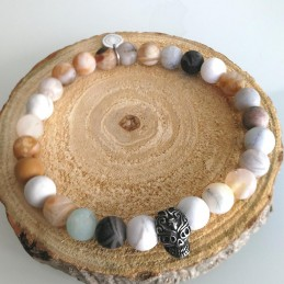 Bracelet homme pierres gemmes howlite et agate
