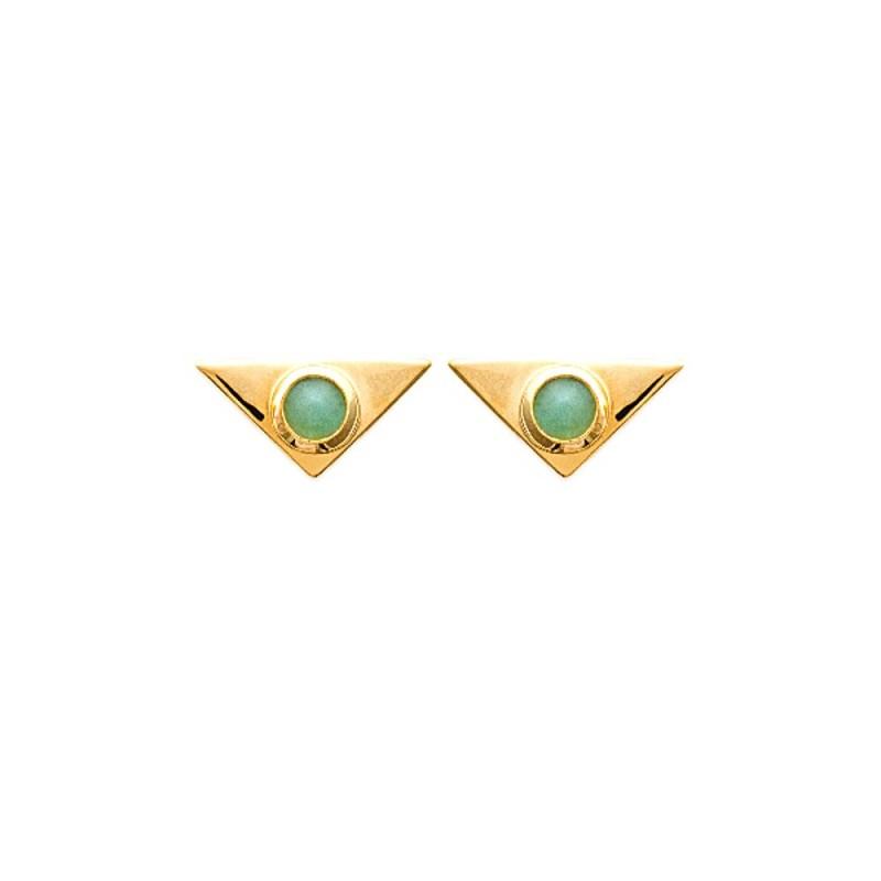 Boucles d'oreilles triangles aventurine plaqué or