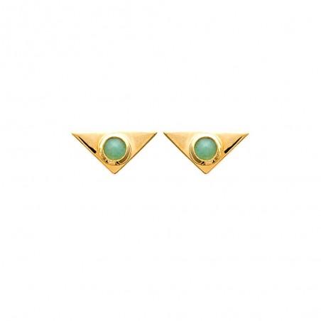Boucles d'oreilles aventurine plaqué or forme triangles
