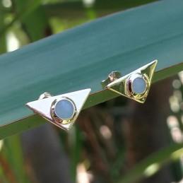 Boucles d'oreilles puces triangles aventurine plaqué or