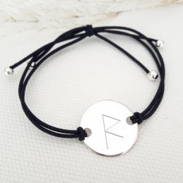 Bracelet personnalisé runes symboles viking argent cordon