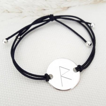 Bracelet personnalisé runes symbole viking argent cordon élastique