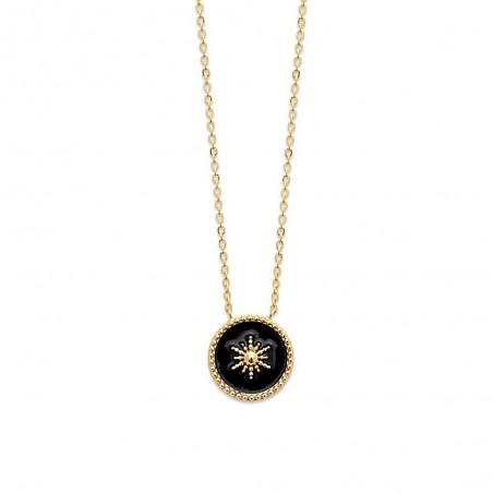 Collier étoile plaqué or émail noir