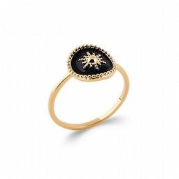 Bague étoile plaqué or émail noir