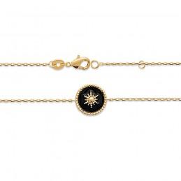 Bracelet étoile plaqué or émail noir
