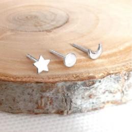 Boucles d'oreilles argent étoiles puces
