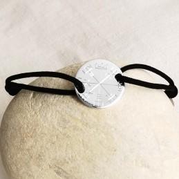 Bracelet personnalisé argent sur cordon gravure vegvisir