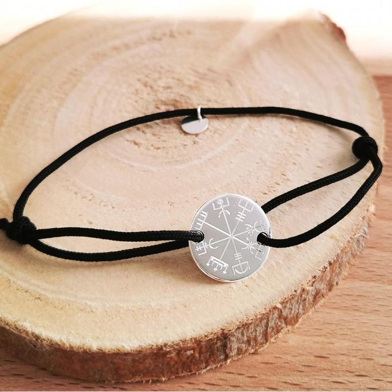 Bracelet personnalisé argent cordon symbole vegvisir