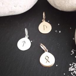 Pendentif personnalisé argent plaqué or rune viking