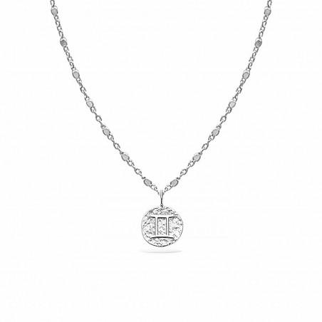 Collier signe astrologique Gémeaux argent