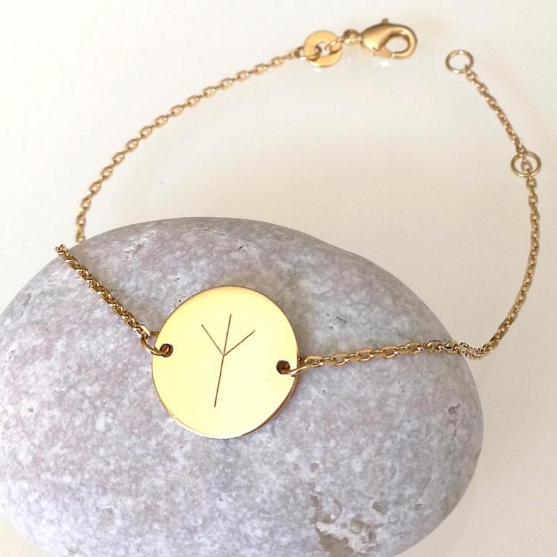 Bracelet personnalisé gravé avec rune plaqué or
