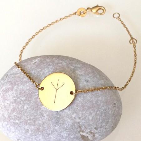 Bracelet personnalisé - symbole viking - rune - plaqué or