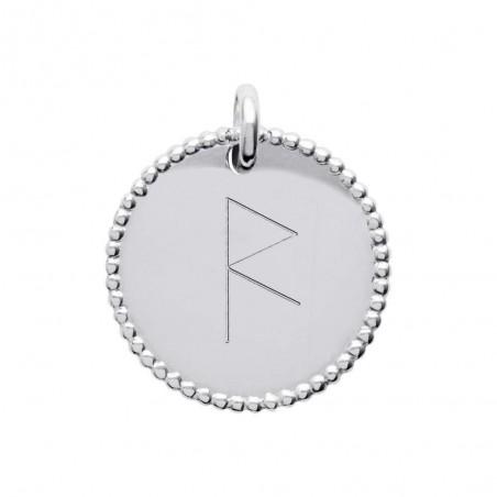 Pendentif médaille personnalisée argent - symbole viking - 20 mm