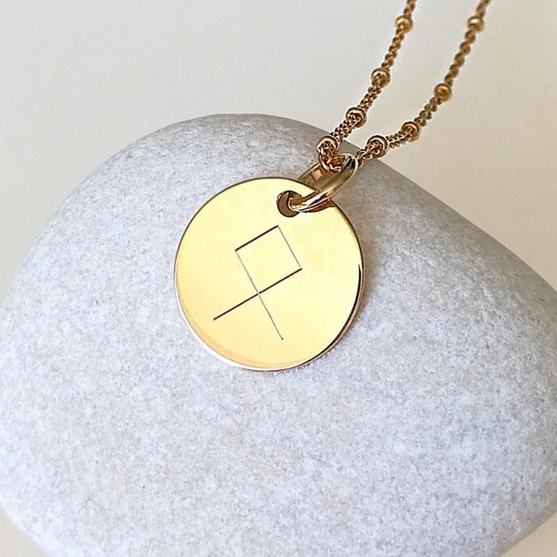 Médaille personnalisée gravée avec rune plaqué or 15 mm