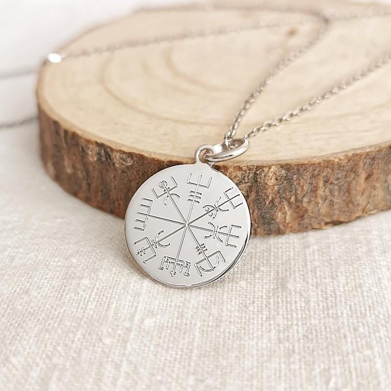 Médaille personnalisée argent Vegvisir symbole viking