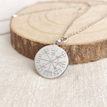 Médaille personnalisée argent Vegvisir symbole viking - 18 mm