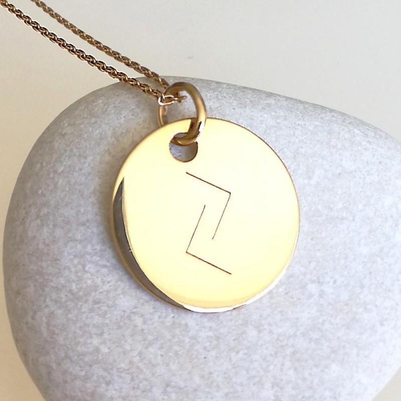 Médaille personnalisée gravée avec rune plaqué or 20 mm